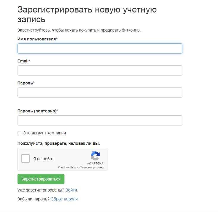 Регистрационные поля Localbitcoins
