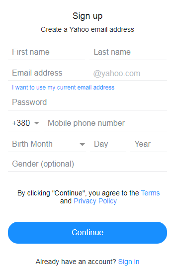 Fill in the registration data and the disposable number on Yahoo