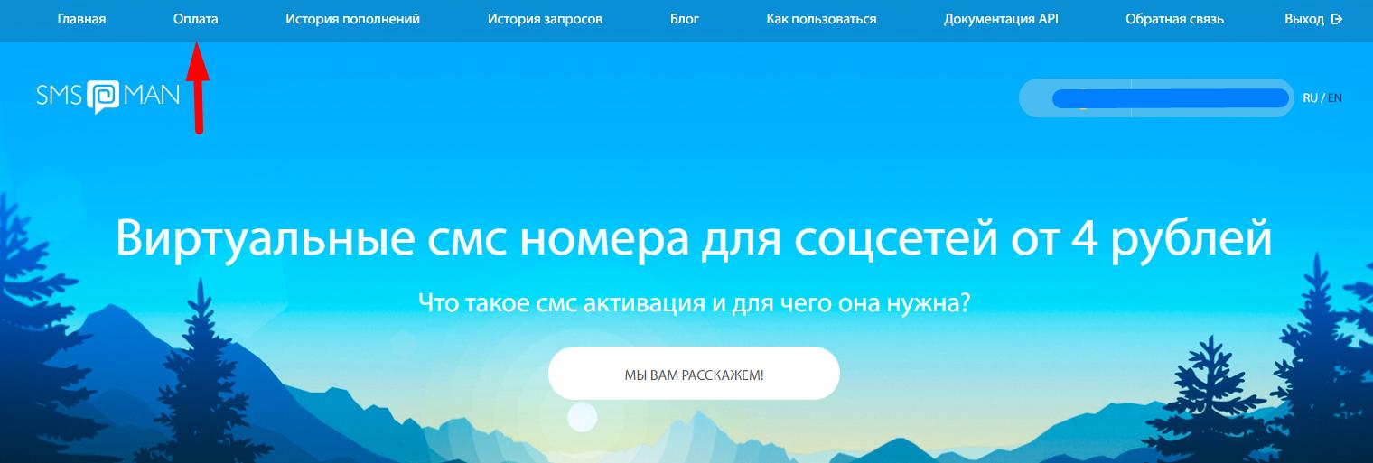 """раздел """"Оплата"""" для пополнения счета на sms-man.ru"""