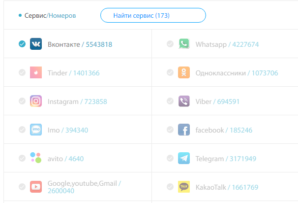 Найти номер VK для приема смс