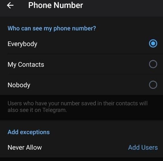 Как скрыть номер в телеграмме на Android