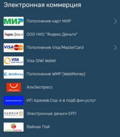 Основные разделы payberry ru