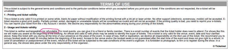 Условия возврата билета Ticketmaster com
