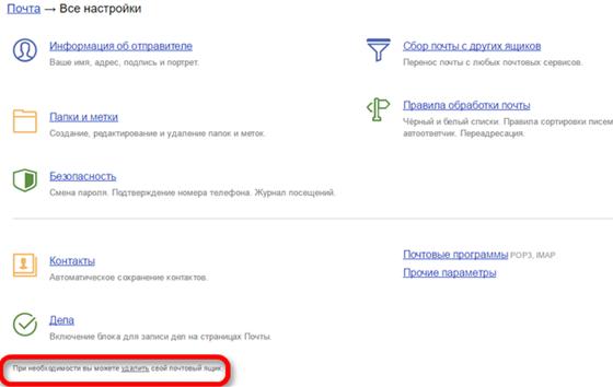 Удаление Яндекс Почты
