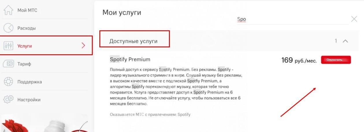 отменить подписку Spotify МТС