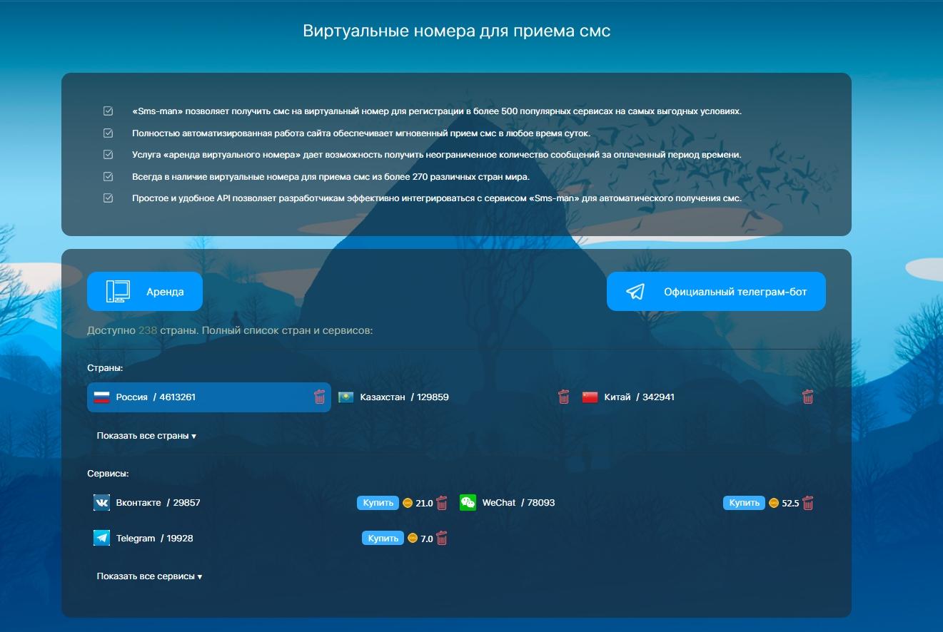 виртуальные номера для приема смс Sms-man.ru