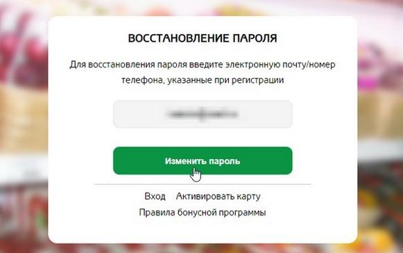 Восстановление пароля от кабинета магазина Магнолия