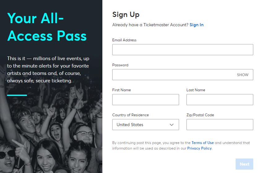 Тикетмастер регистрации аккаунта пользователя