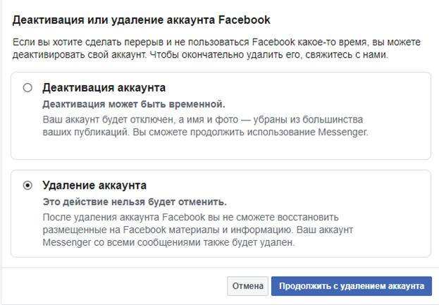 Деактивация профиля Фейсбук