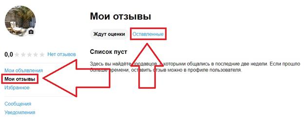 Удалить собственный отзыв на сайте Авито
