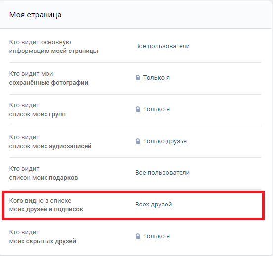 Скрытие друзей и подписчиков во Вконтакте