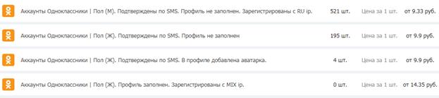 Купить аккаунт в социальной сети Одноклассники