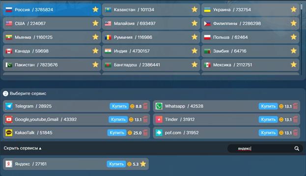 Виртуальный номер для регистрации аккаунта Яндекс